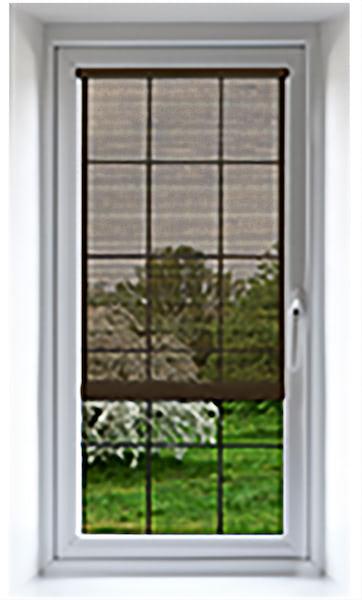 Window with transparent shading solution half drawn