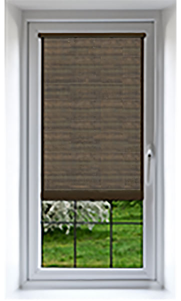 Window with translucent shading solution half drawn
