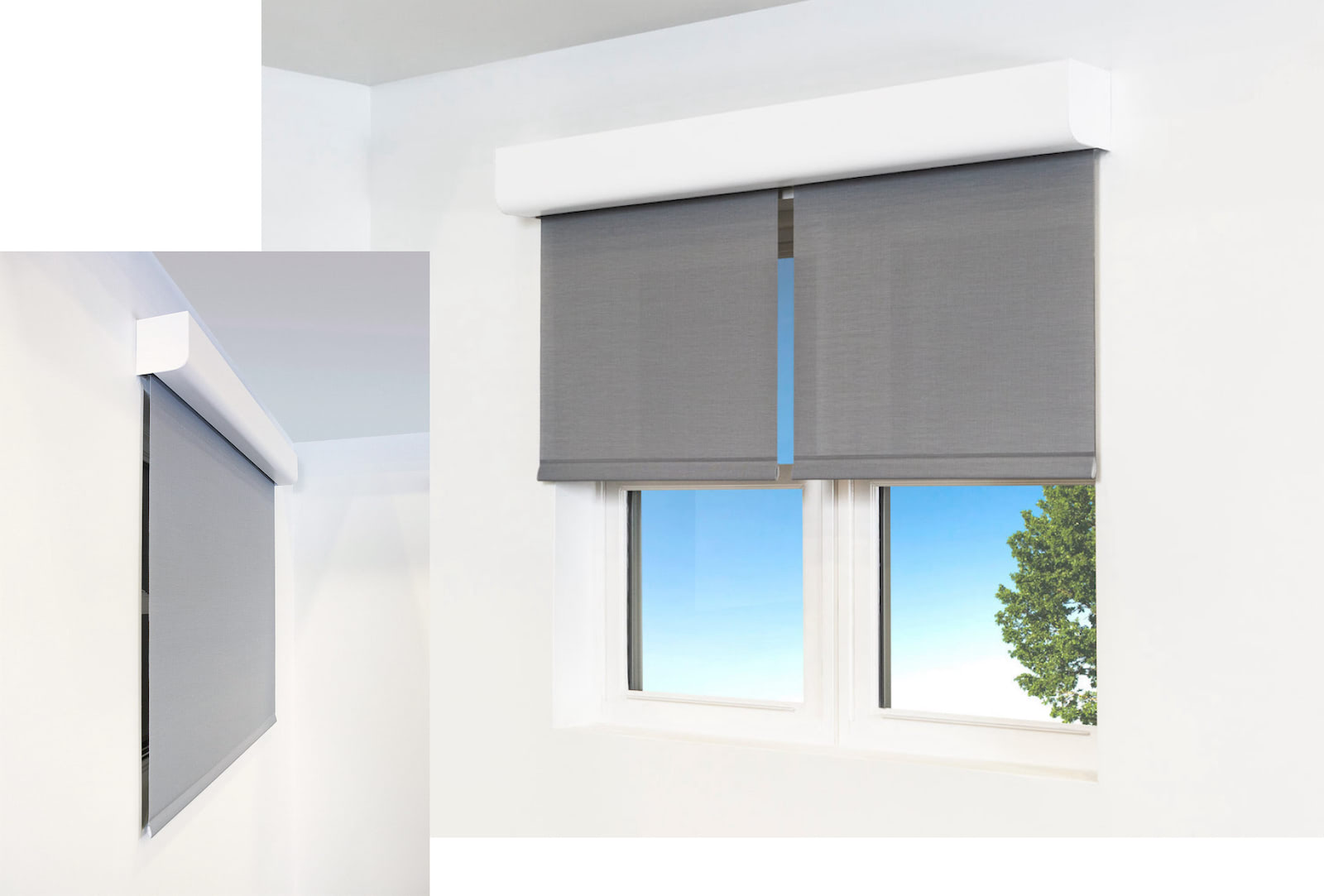 Pictures of 2 windows using Architectural shade hardware