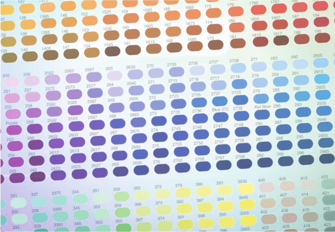 Color Match video thumbnail. Grid of colors.