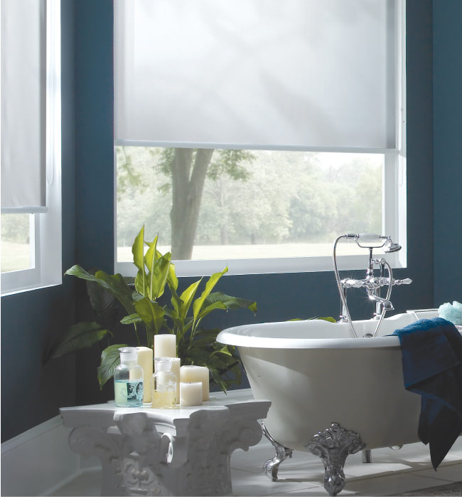 Photo of a bathroom with window shades pulled down